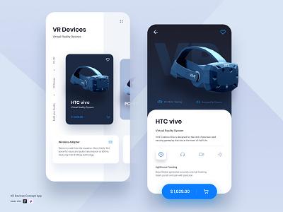 VR Device Concept App ux creative product design ecommerce app designs ui ui ux vr virtual reality mobile app mobile ui design icon htc vive application app