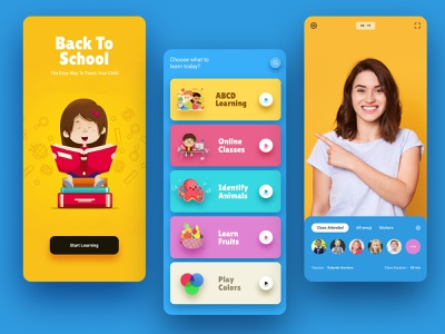 Kids Online school app 100 day challenge daily figma creative design concept ui  ux clean ux ui design app e learning online school school app online kids app