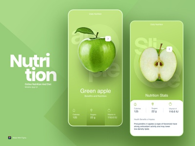 Nutrition and Diet app green nutritionist creative vector design xddailychallenge figma color ui  ux ui ux clean diet app nutrition app