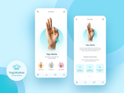 Yoga/Meditaion app mudra meditation yoga blue ux concept design typography figma ui  ux ui color creative 100daychallenge clean ui yoga app