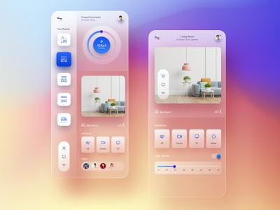 Smart Home UI graphic iot app home automation smart house smart home app smart home design creative clean concept ux ui  ux glass smarthome