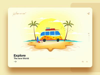 Summer Illustration UI Crad
