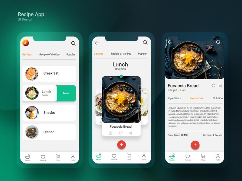 Recipe App UI design creative color design cook ui  ux mobie app recipe