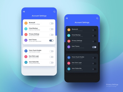 Privacy Settings UI toggle switch account settings concept color designs dailyui icon ui  ux ux ui clean creative design settings ui privacy