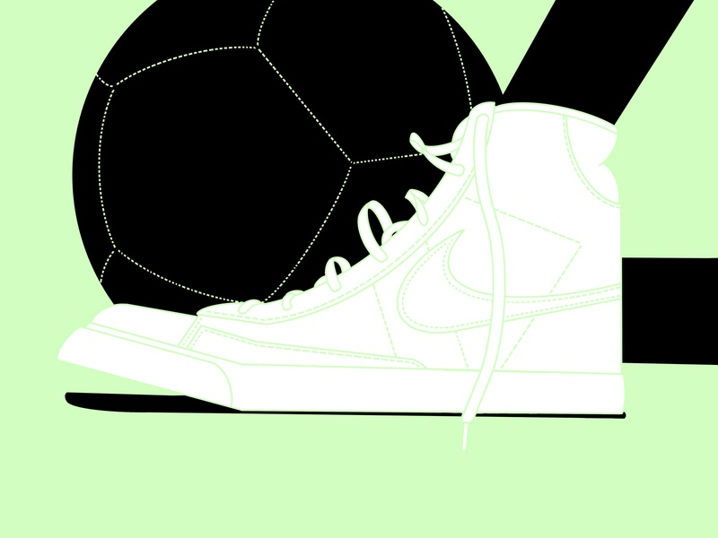Post-game crop graphic shadows neon procreate vector illustration laces shoe soccer ball blazers nike football nike football soccer