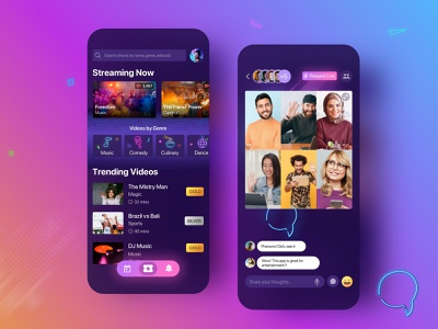 Entertainment Application event live streaming trending watchparty chat theater colourful vibrant netflix video movie mobile application entertainment design iphone elegant