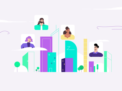 Nuag picto city app animation character outline flat motion design illustration cloud videocall