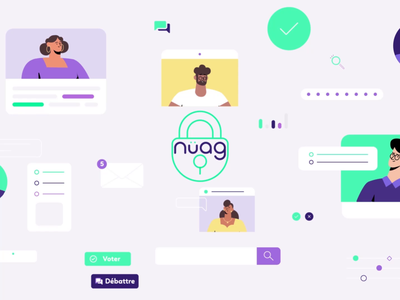 Nuag security cloud picto tech transition flat art direction data startup app character animation motion design illustration