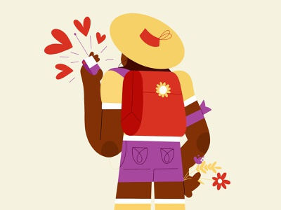 Inktober Day1 - Backpack #tarmaszinktober2020 short characterdesign art direction inktober flower hat character flat illustration backpack