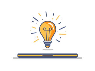 Do you have any idea ? keyframe factory motion design outline computer bulb idea