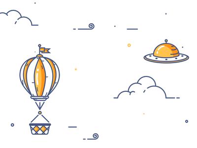 Sky Screen Transition illustration outline motion design keyframe factory sky