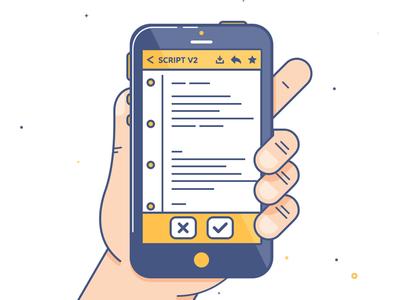 Script Phone mail smartphone iphone hand flat instagram outline illustration keyframe factory script