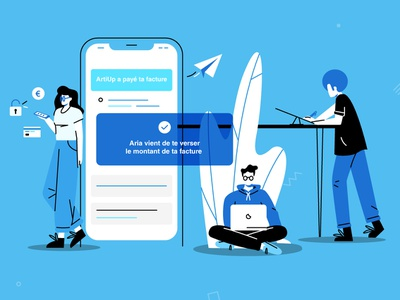 Aria notification startup work people vector uidesign blue plant payment secure freelance paperplane webapp app product smartphone character illustration