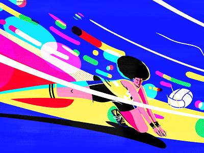 Volley Final digitalart sketch flat character artdirection light neon women sport colorful photoshop illustrator draw illustration ball volleyball
