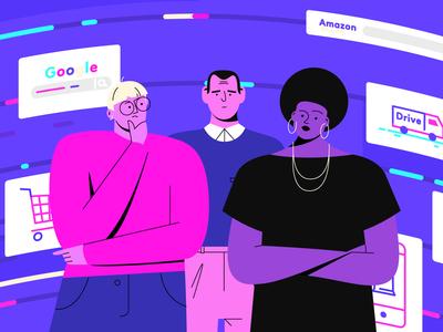 Alkemics artwork glasses afro people draw startup tech colorful character design illustrator art direction outline flat illustration motion design