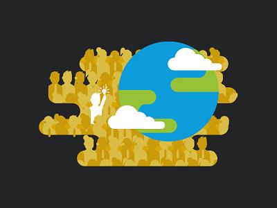 Summit ! cloud flat earth disruption print illu illustration