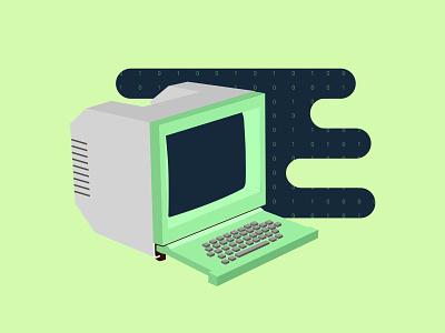 Minitel ! illustration flat motion old minitel computer binary gree