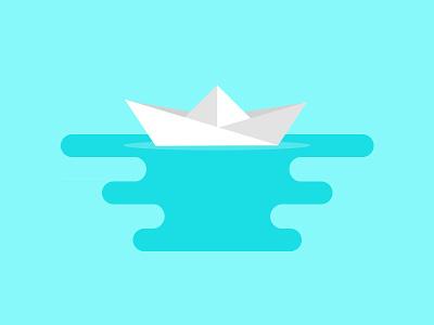 paper Boat minimalist design motion flat illustration boat paper