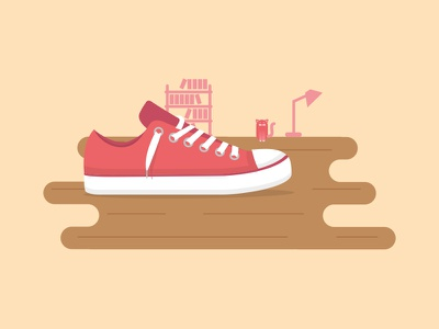 Enfile tes chaussures ! wood home shoes meet demonstration climate up illustration flat