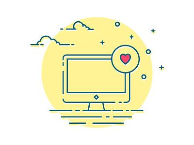 icon computer heart shadow illustration blue yellow color night dream icon mac computer like