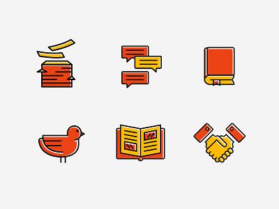 Business Icon check hand bird book dialog paper design yellow orange illustration icon business
