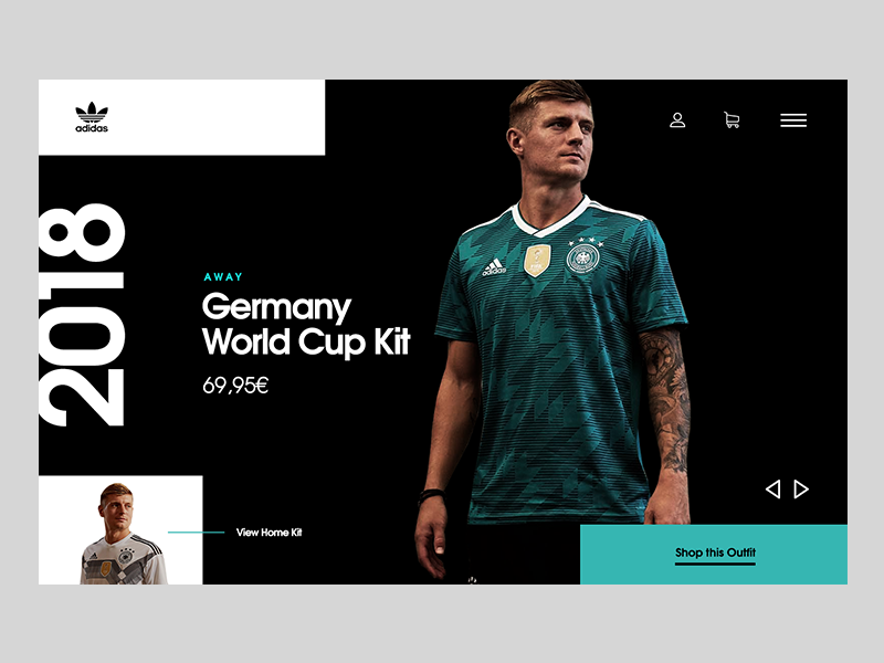World Cup Jersey UI sport adidas webdesign jersey germany football shop ui