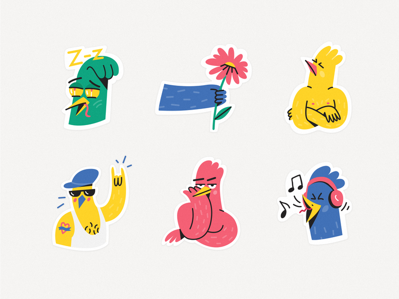 Stickers for Snapchat cute hooligans snapchat drawing hand cool singer music sleepy rock mood funny flower chicken bird duck stickerpack stickermule stickers illustration