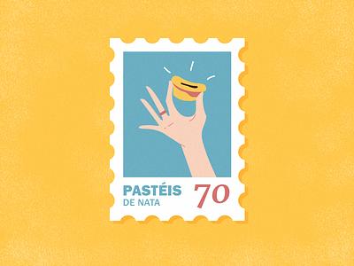 Post stamp about Portugal sweet symbol icon mark food happy tradition love lisbon lisboa portugal post card post stamp font ring fingers hand dessert illustration