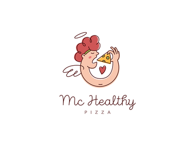 Logo for healthy pizzeria in Thailand hand branding clean eating meal eat health angel pizzeria pizza like paradise boy logo charachter shot icon hair drawing illustration