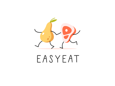 EASYEAT charachter illustration branding identity funny friendship pear friends yellow meal easy health healthy food eat food meat drawing vector logo delivery