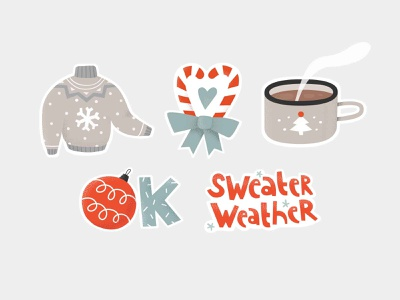 christmas stickers design holidays relax hygge ornament heart snowflake winter new year christmas ball hand lettering sweets coffee weather sweater cocoa cup christmas illustration stickers