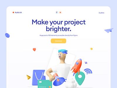 Kukla 3d icon kit product illustration figma trending startup hero landing icons kit blender 3d
