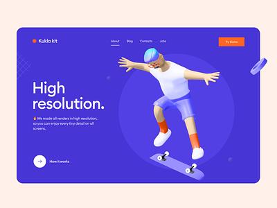 Kukla 3d icon kit feature orange violet character icon 3d illustration blender 3d skater hero image landing