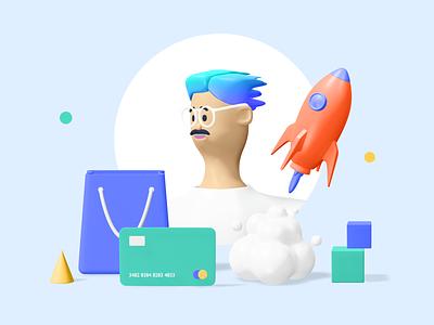 Kukla 3d kit trending minimal colors palette app characterdesign blender 3d icon 3d illustration 3d
