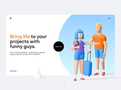 Humans 3d character kit blender travelling colors ui design gradient 3d icon trending landing characters design character 3d