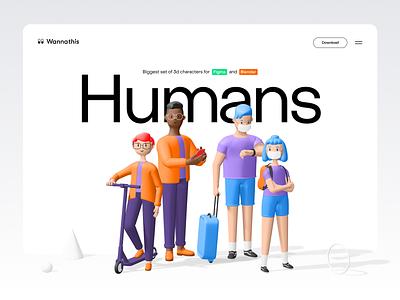 Humans 3d characters colors header 3d shapes scooter 3d character service app typogaphy gradient landing 3d icon character design blender 3d