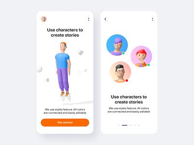Humans 3d characters set by Wannathis.one ui design ui walkthrough gradient mobile app mobile trending 3d illustration 3d icon 3d character 3d