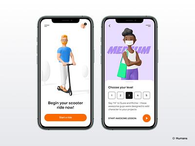 Humans 3d kit trending walkthrough mobile cards ui 3d illustration 3d kit mobile ui mobile mobile app 3d icon 3d character 3d