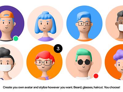 3d avatars 3d illustration ui kit color palette service app ui app ui 3d human trending 3d icon 3d avatar 3d character 3d