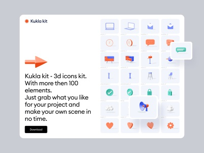 Kukla 3d icon kit cards ux features call to action share icon settings icon message icon color palette ui design ui blender landing gallery 3d illustration 3d icon 3d