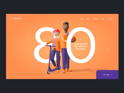Humans 3d character header productdesign illustration dribbbleisdead saas ux ui landing header gradient color palette 3d icon 3d illustration 3d characters 3d