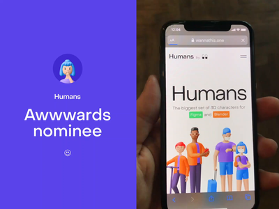 Humans 3d characters (Awwwards nominee) illustration ux gradient button trending mobile ui loader animation animation product design mobile character design 3d character 3d avatar 3d icon 3d