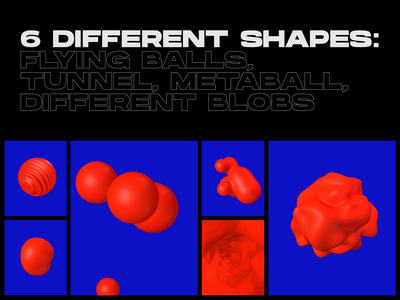 FLUID ANIMATED 3D SHAPES feature blender grid portfolio product design landing layout gallery cards trending abstract typogaphy website ui fluid blob motion animation 3d