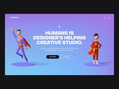 Super Hero 3d gradient ui webdesign studio portfolio landing character illustration 3d super hero superhero
