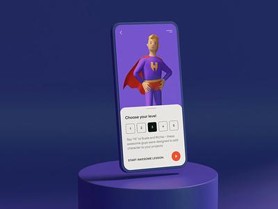 Super Hero 3d gradient animation card ui mobile colors presentation iphone mockup superhero 3d