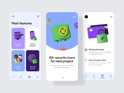 3d security illustration set 3d icon set secure payment protection password walkthrough settings features card feature mobile illustration icons 3d