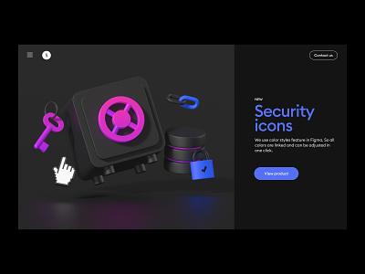 security 3d illustration set webdesign dark app dark theme ui header feature gradient illustrations protection data safe key icon 3d security