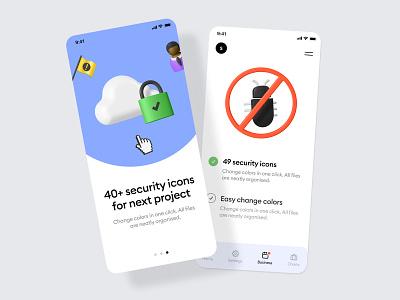 security 3d  illustrations walkthrough features account alert flag security cloud no bugs 3d illustration 3d icons mobile 3d icon