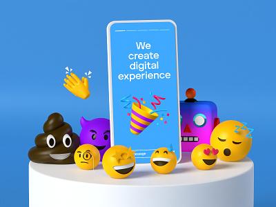 3d emoji 3d icon 3d render blender instagram stories webdesign ui mobile illustration emoji 3d emoji