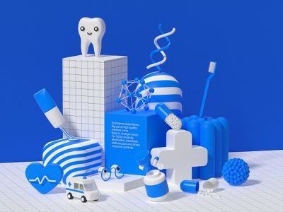 Pharma 3d icons pack c4d medicine dna illustration blender toothpaste ambulance cross pill tooth pharma 3d icon 3d